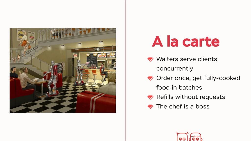 A la carte Waiters serve clients concurrently O...