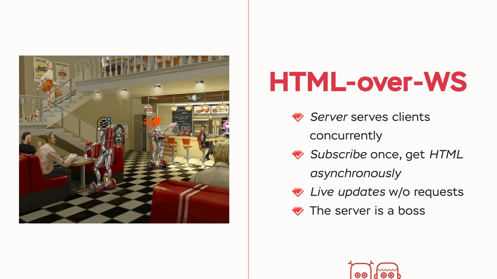 HTML-over-WS Server serves clients concurrently...