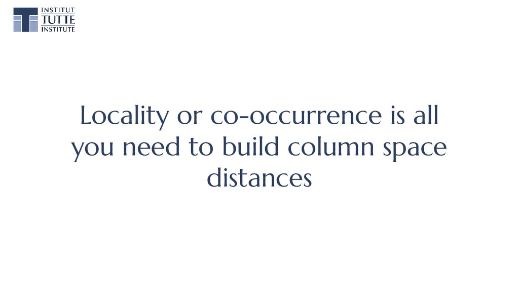 Locality or co-occurrence is all you need to bu...