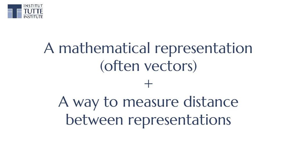 A mathematical representation (often vectors) +...