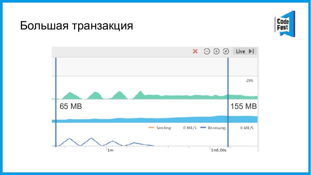 Большая транзакция 65 MB 155 MB