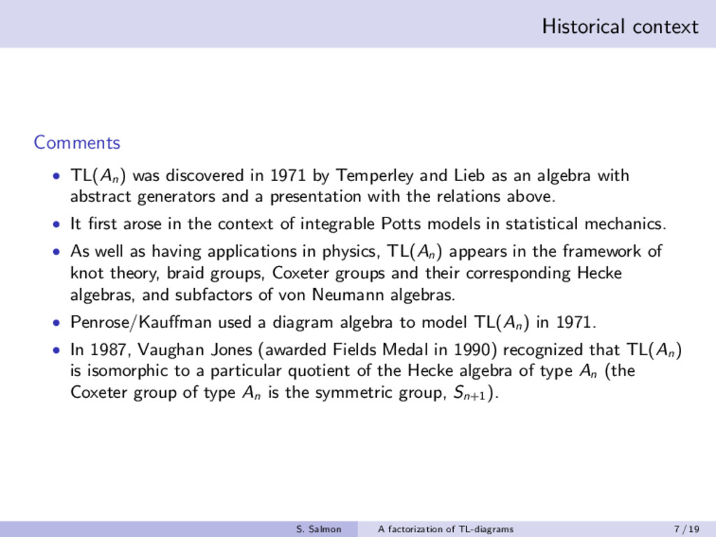 Historical context Comments • TL(An ) was disco...