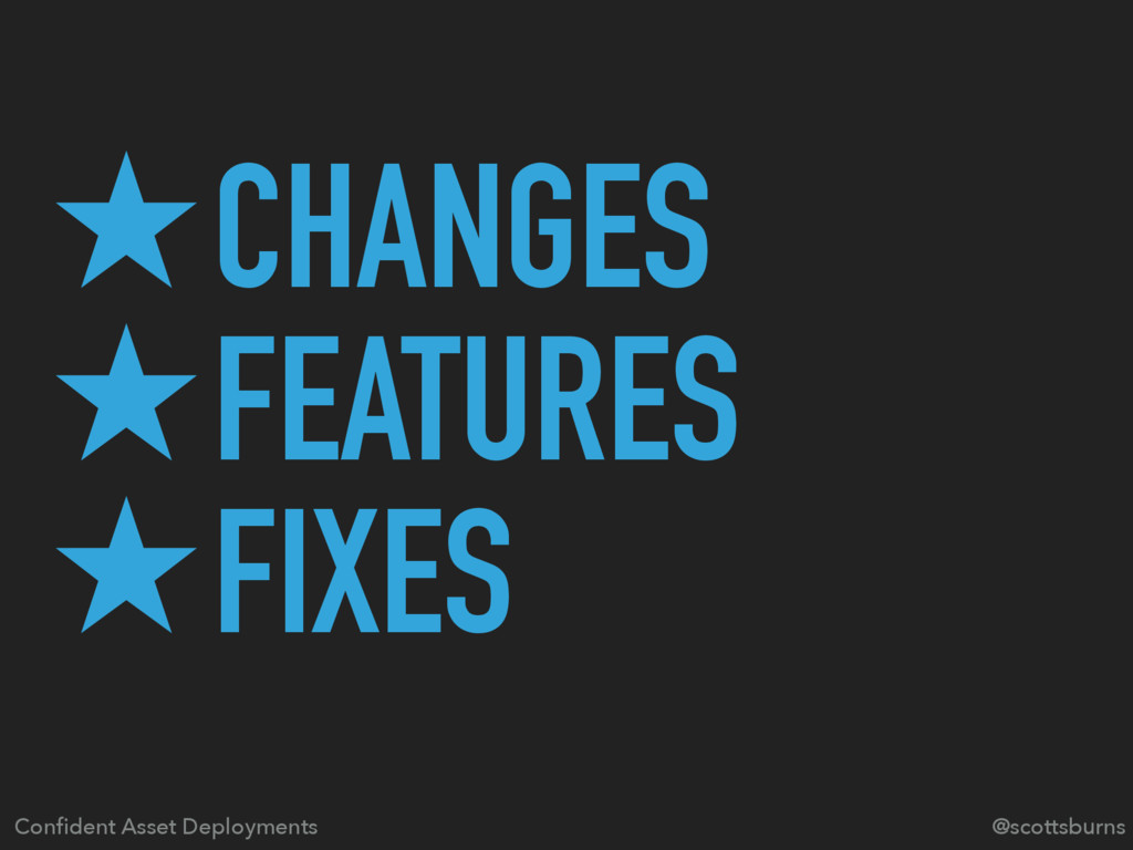 ̣CHANGES ̣FEATURES ̣FIXES Confident Asset Deploy...