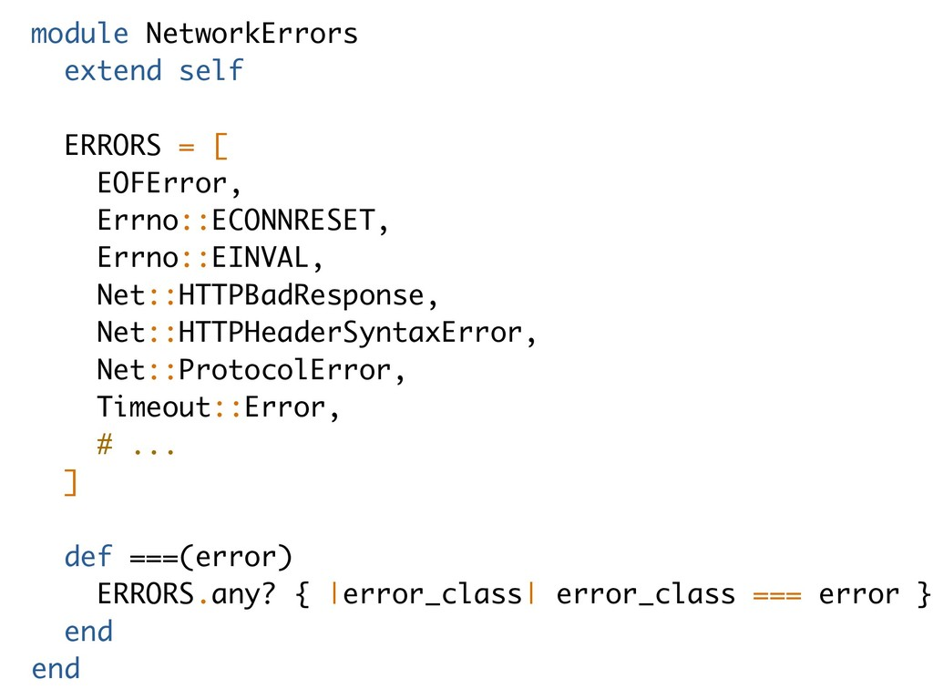 module NetworkErrors extend self ERRORS = [ EOF...