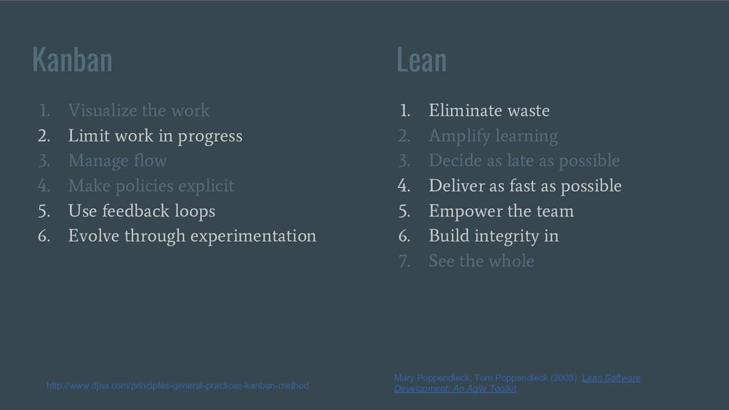 Kanban Lean 1. Visualize the work 2. Limit work...