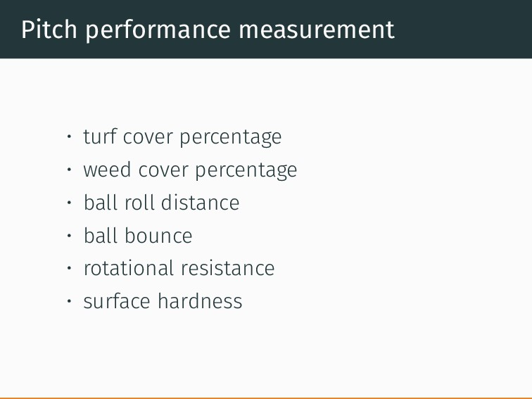 Pitch performance measurement • turf cover perc...