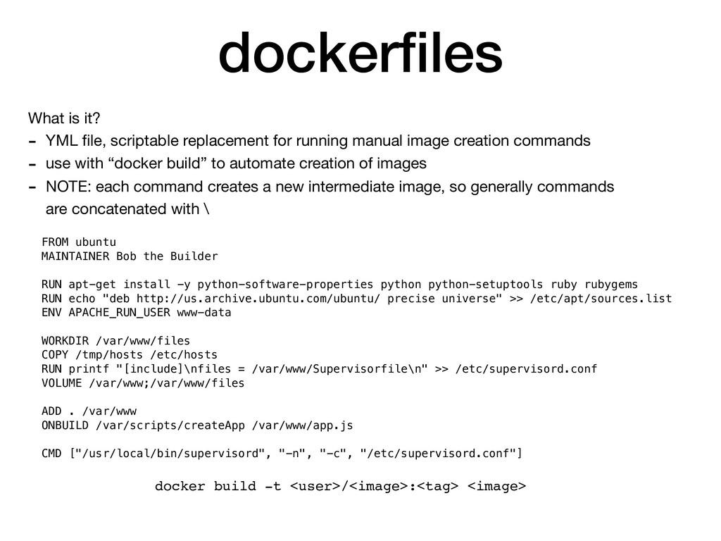 dockerfiles What is it?  - YML file, scriptable r...