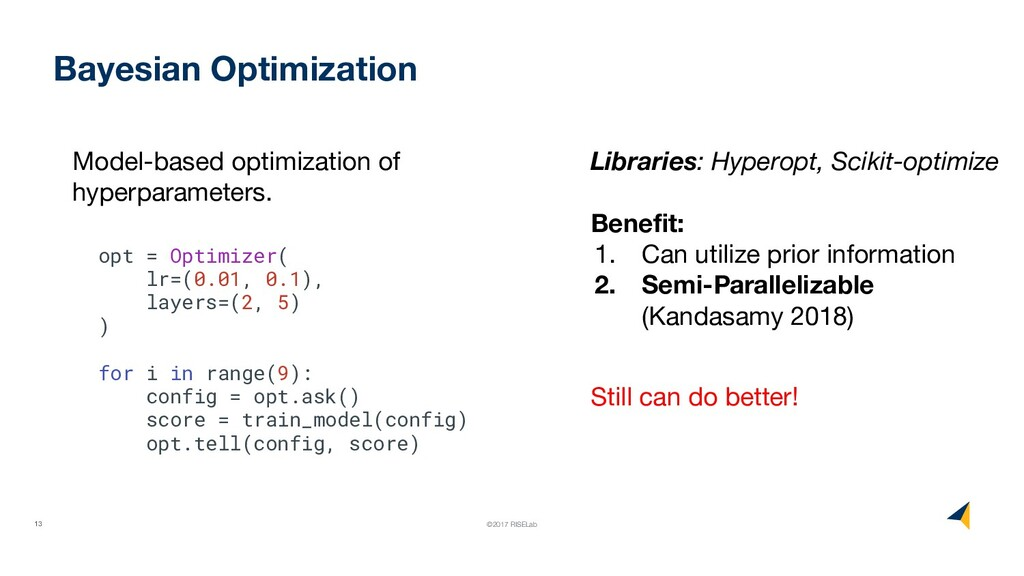 13 ©2017 RISELab Bayesian Optimization opt = Op...