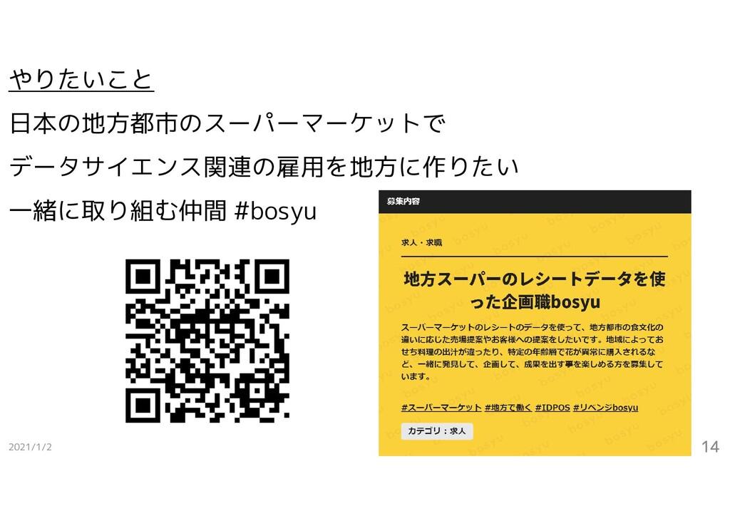 2021/1/2 14 やりたいこと 日本の地方都市のスーパーマーケットで データサイエンス関...