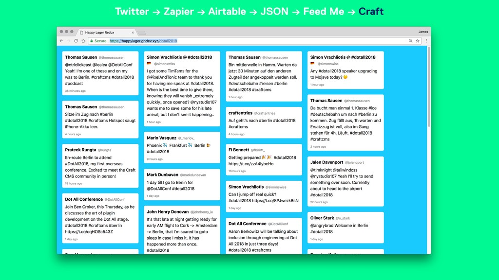 Twitter → Zapier → Airtable → JSON → Feed Me → ...