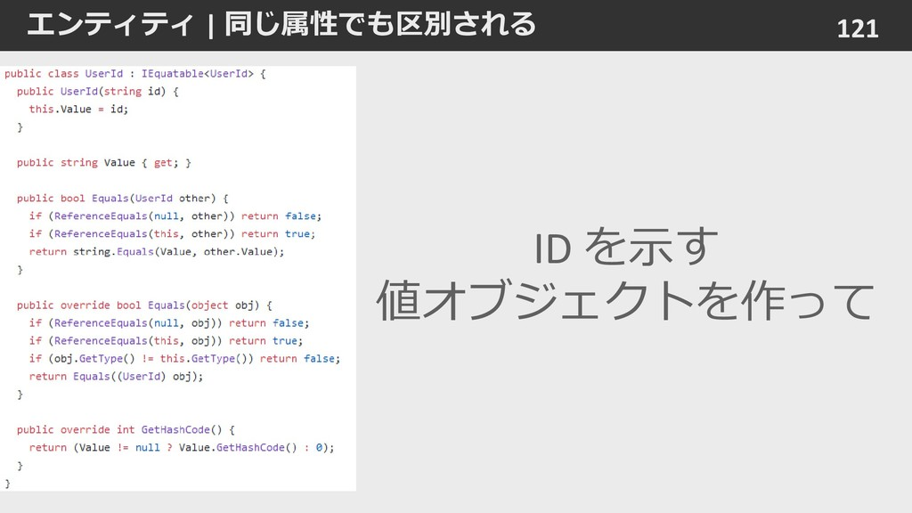 エンティティ   同じ属性でも区別される 121 ID を示す 値オブジェクトを作って
