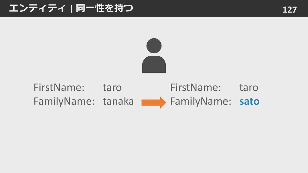 エンティティ   同一性を持つ 127 FirstName: taro FamilyName:...