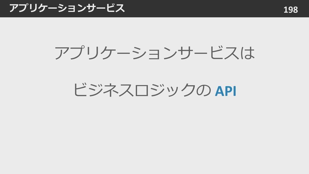 アプリケーションサービス 198 アプリケーションサービスは ビジネスロジックの API