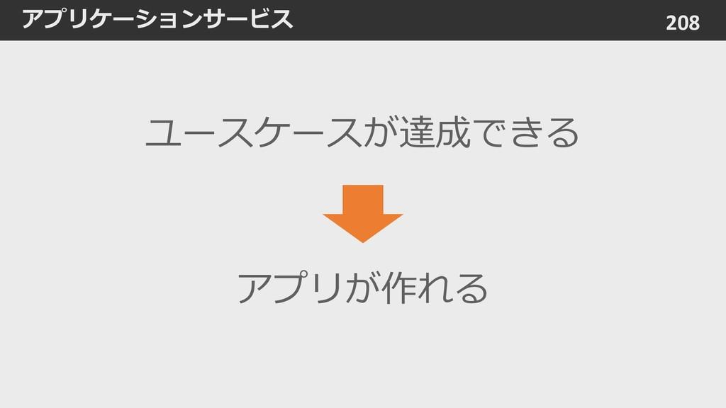 アプリケーションサービス 208 ユースケースが達成できる アプリが作れる