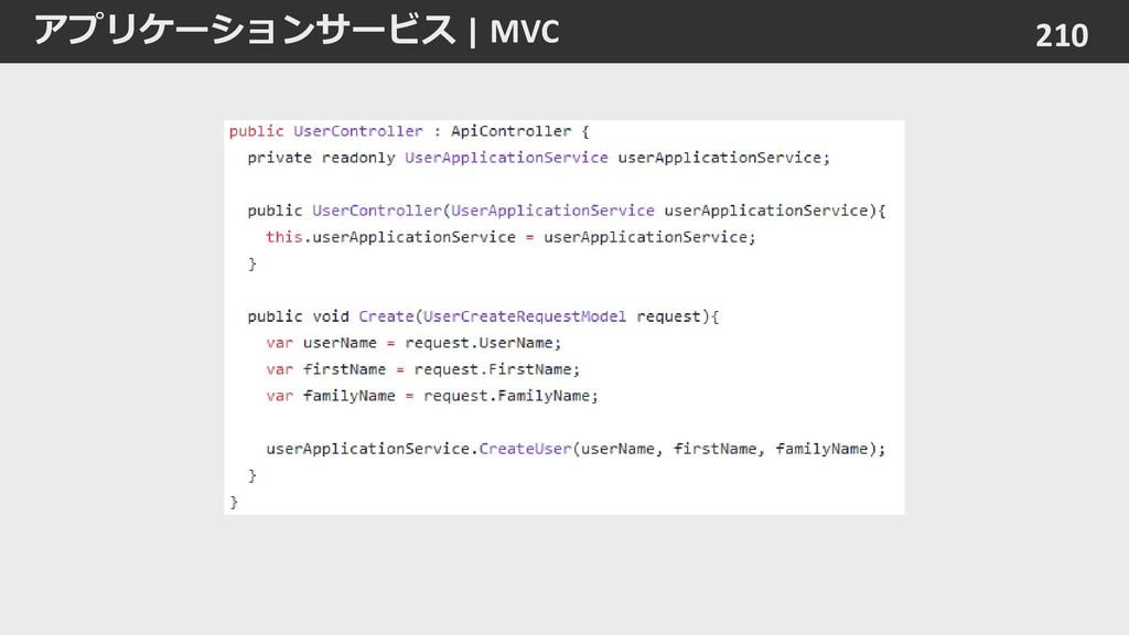 アプリケーションサービス | MVC 210