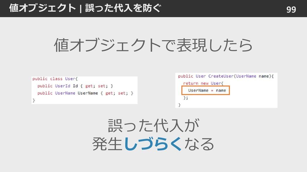 値オブジェクト | 誤った代入を防ぐ 99 誤った代入が 発生しづらくなる 値オブジェクトで表...
