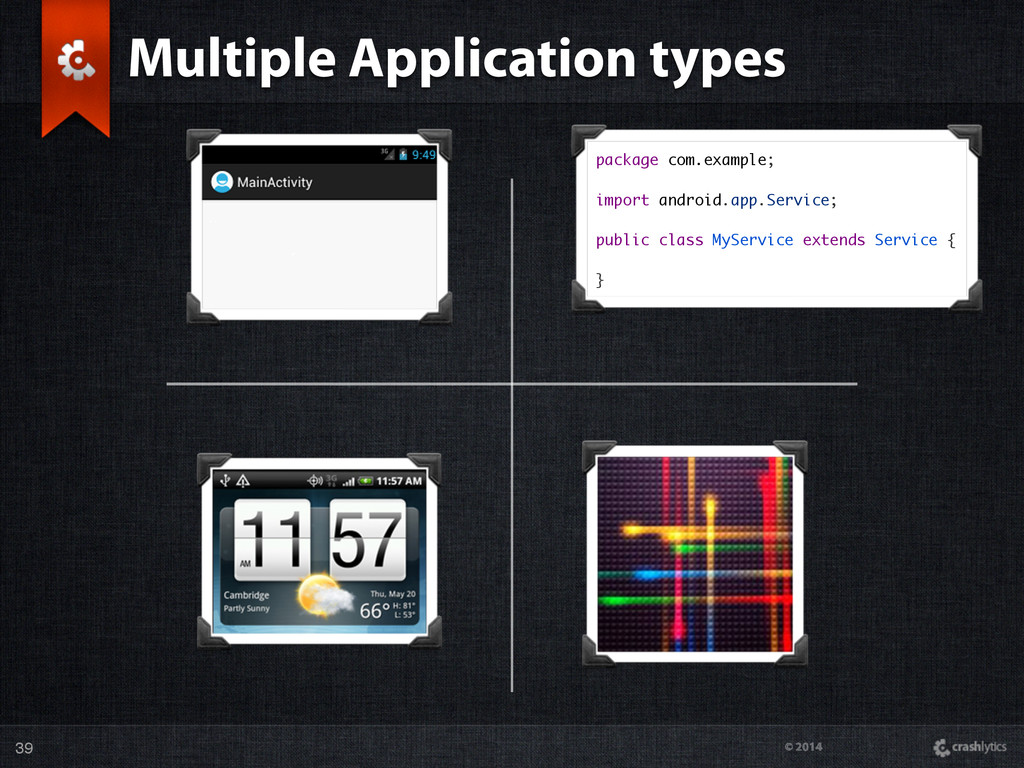 © 2014 Multiple Application types 39 package co...