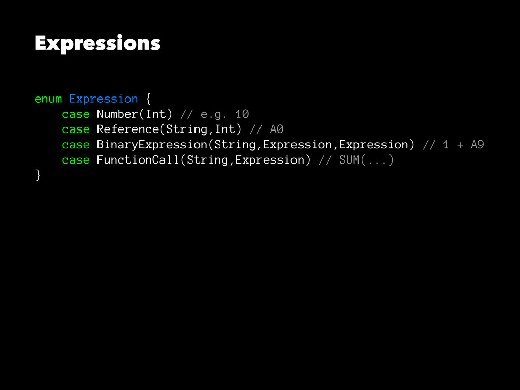 Expressions enum Expression { case Number(Int) ...