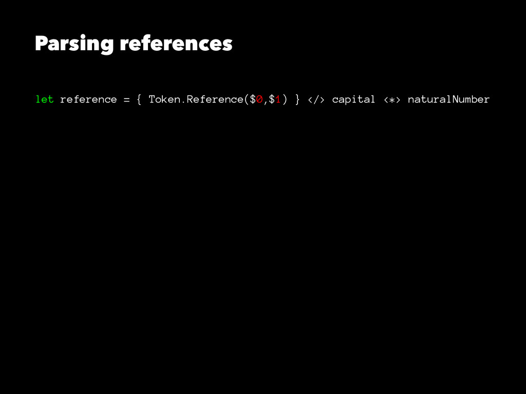 Parsing references let reference = { Token.Refe...