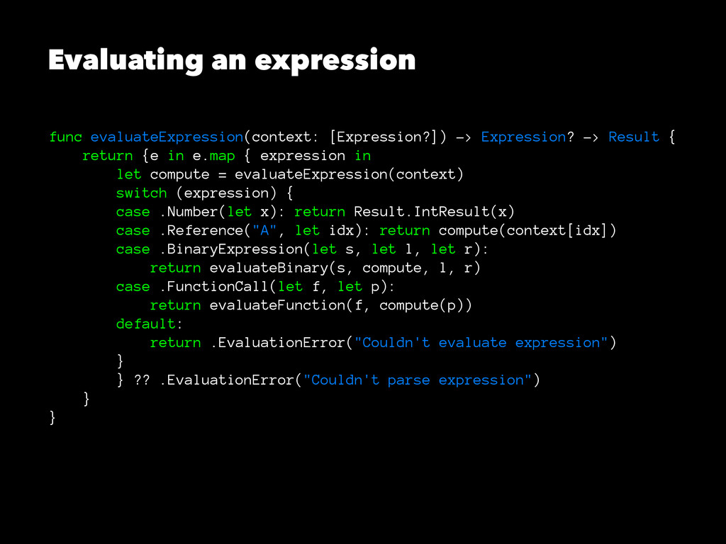 Evaluating an expression func evaluateExpressio...