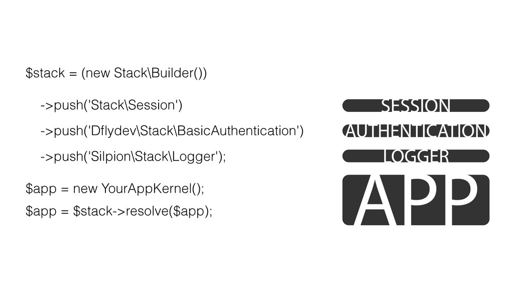 $stack = (new Stack\Builder()) ! ->push('Stack\...