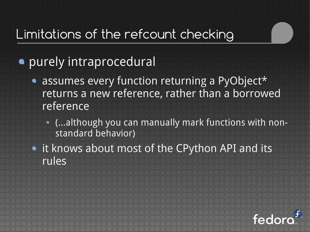 Limitations of the refcount checking purely int...
