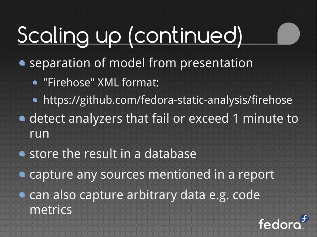 Scaling up (continued) separation of model from...