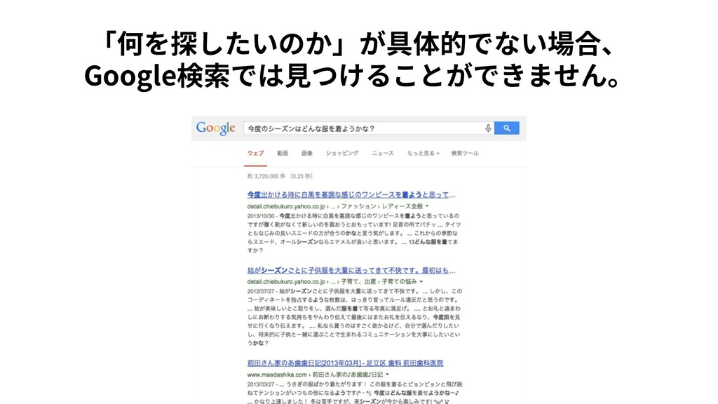 「何を探したいのか」が具体的でない場合、 Google検索では⾒つけることができません。