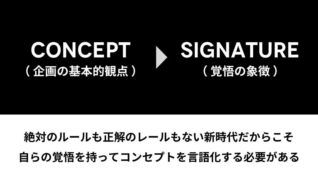CONCEPT ( 企画の基本的観点 ) SIGNATURE ( 覚悟の象徴 ) 絶対のルール...