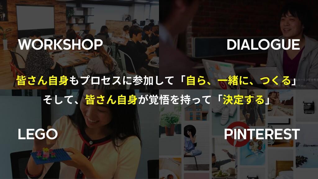 WORKSHOP DIALOGUE LEGO PINTEREST 皆さん⾃⾝もプロセスに参加し...