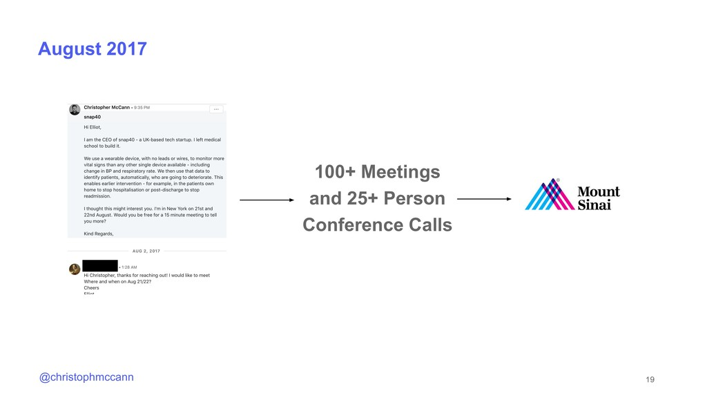 19 @christophmccann August 2017 100+ Meetings a...