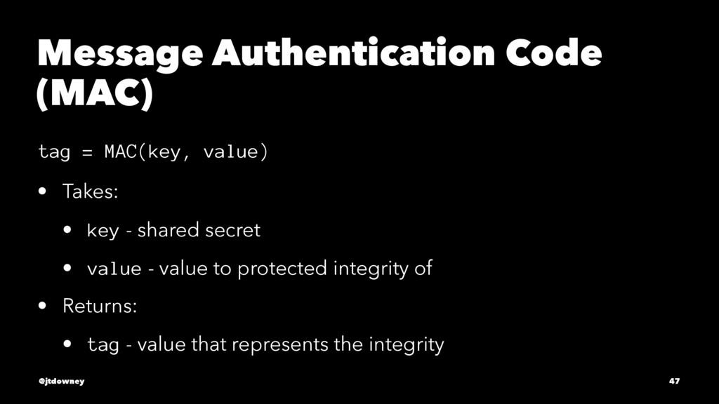 Message Authentication Code (MAC) tag = MAC(key...