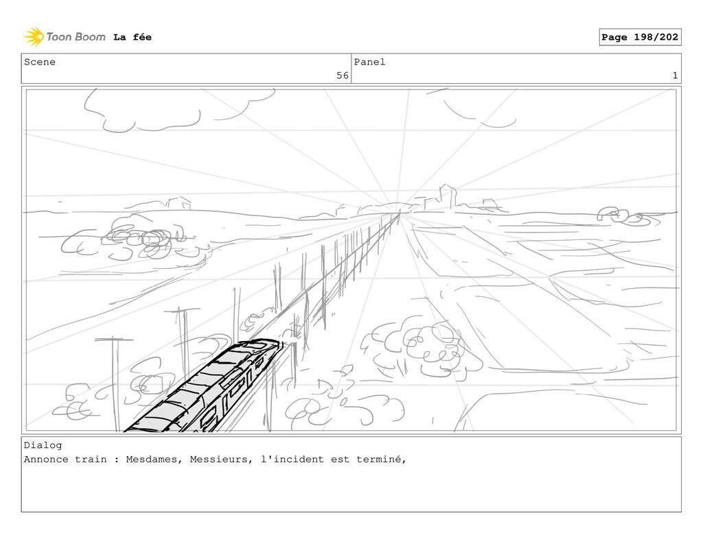 Scene 56 Panel 1 Dialog Annonce train : Mesdame...