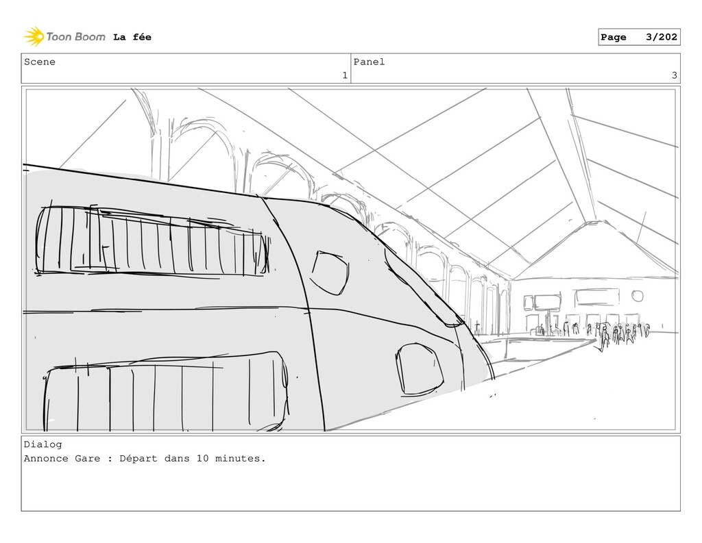 Scene 1 Panel 3 Dialog Annonce Gare : Départ da...
