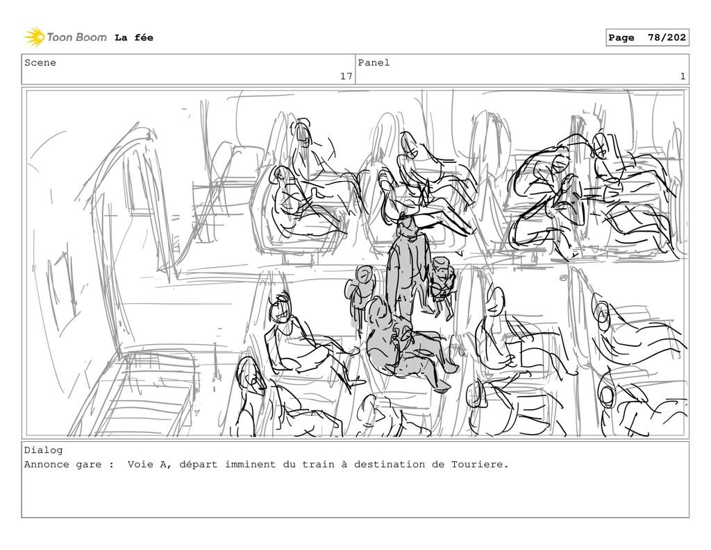 Scene 17 Panel 1 Dialog Annonce gare : Voie A, ...