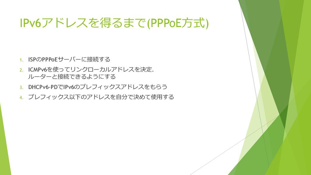 IPv6アドレスを得るまで(PPPoE⽅方式) 1. ISPのPPPoEサーバーに接続する 2...