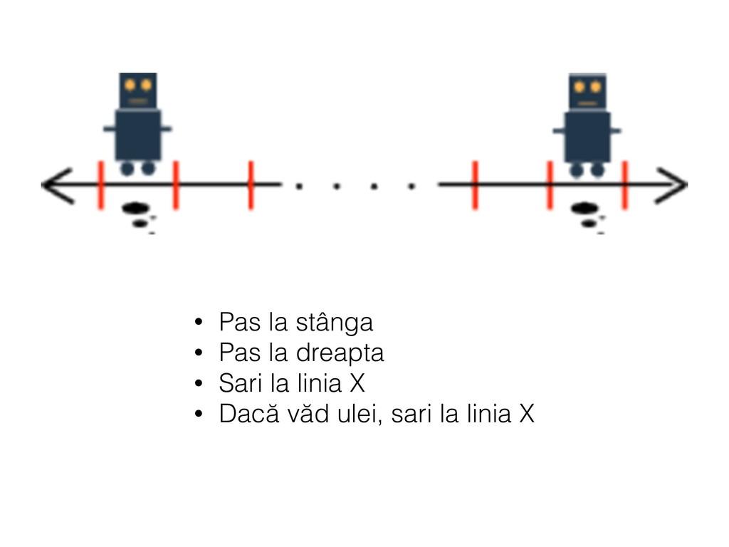 • Pas la stânga • Pas la dreapta • Sari la lini...