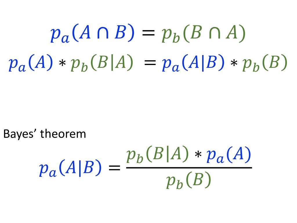 Bayes' theorem ! 7 * , = ! 8 , * ∗ ! 7 (*) ! 8 ...