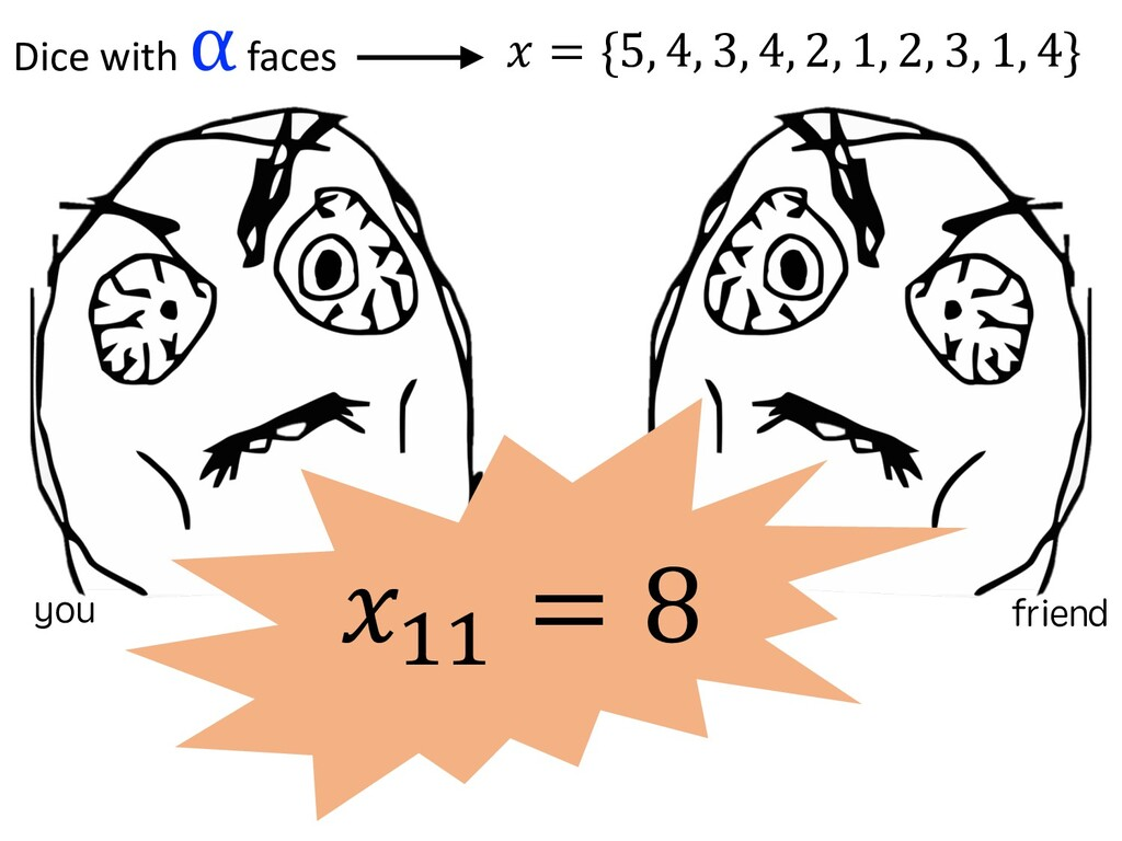 !!! = 8 Dice with α faces ! = {5, 4,...