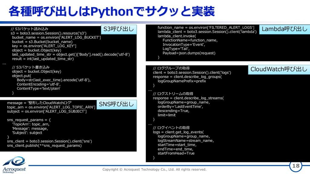 各種呼び出しはPythonでサクッと実装 Copyright © Acroquest Tech...