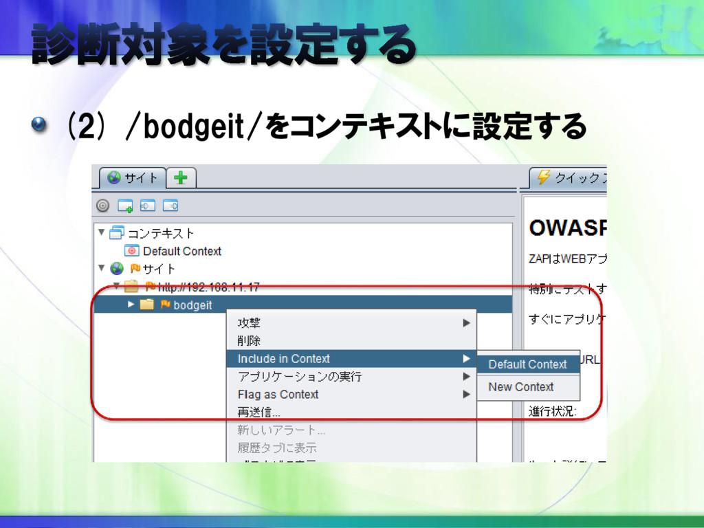 (2) /bodgeit/をコンテキストに設定する