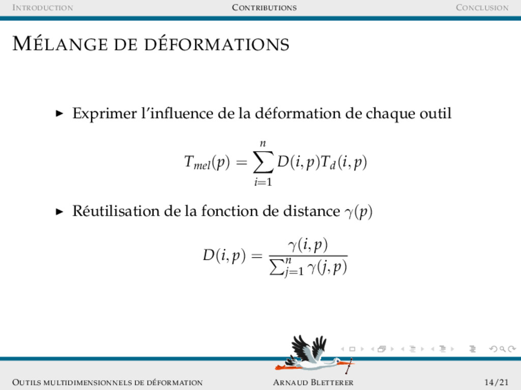 INTRODUCTION CONTRIBUTIONS CONCLUSION M´ ELANGE...