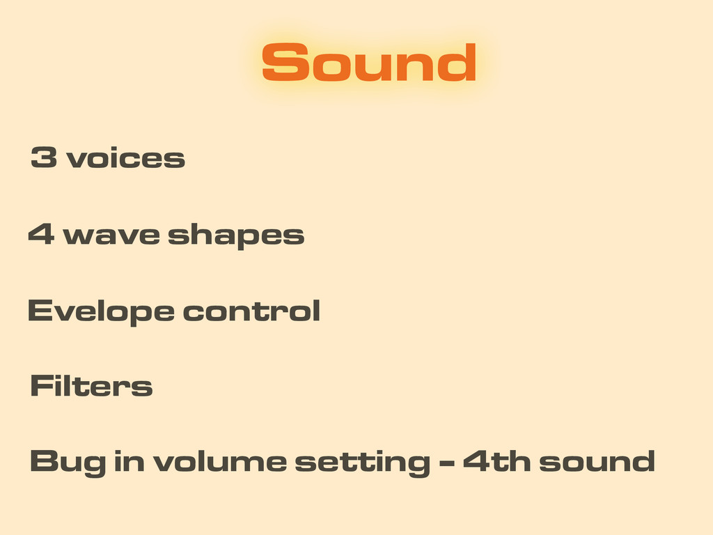 Sound 4 wave shapes Filters 3 voices Evelope co...