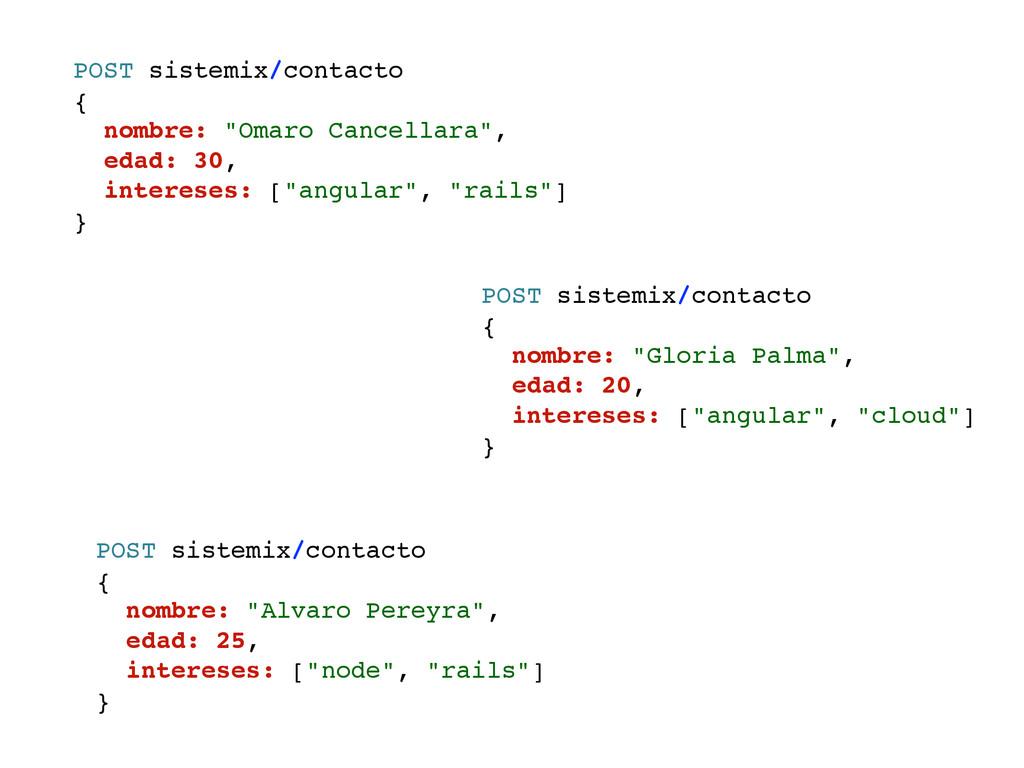"POST sistemix/contacto { nombre: ""Omaro Cancell..."