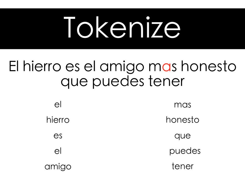 Tokenize El hierro es el amigo mas honesto que ...