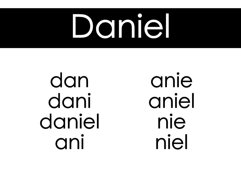 Daniel dan dani daniel ani anie aniel nie niel