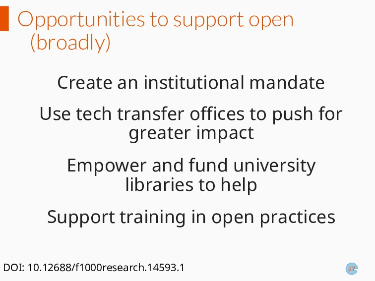 Opportunities to support open (broadly) Create ...
