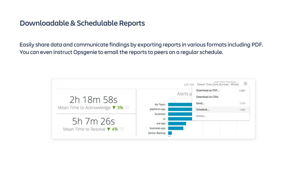 Downloadable & Schedulable Reports Easily share...