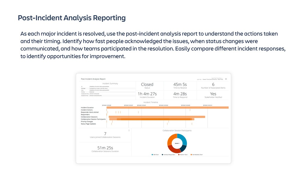 Post-Incident Analysis Reporting As each major ...