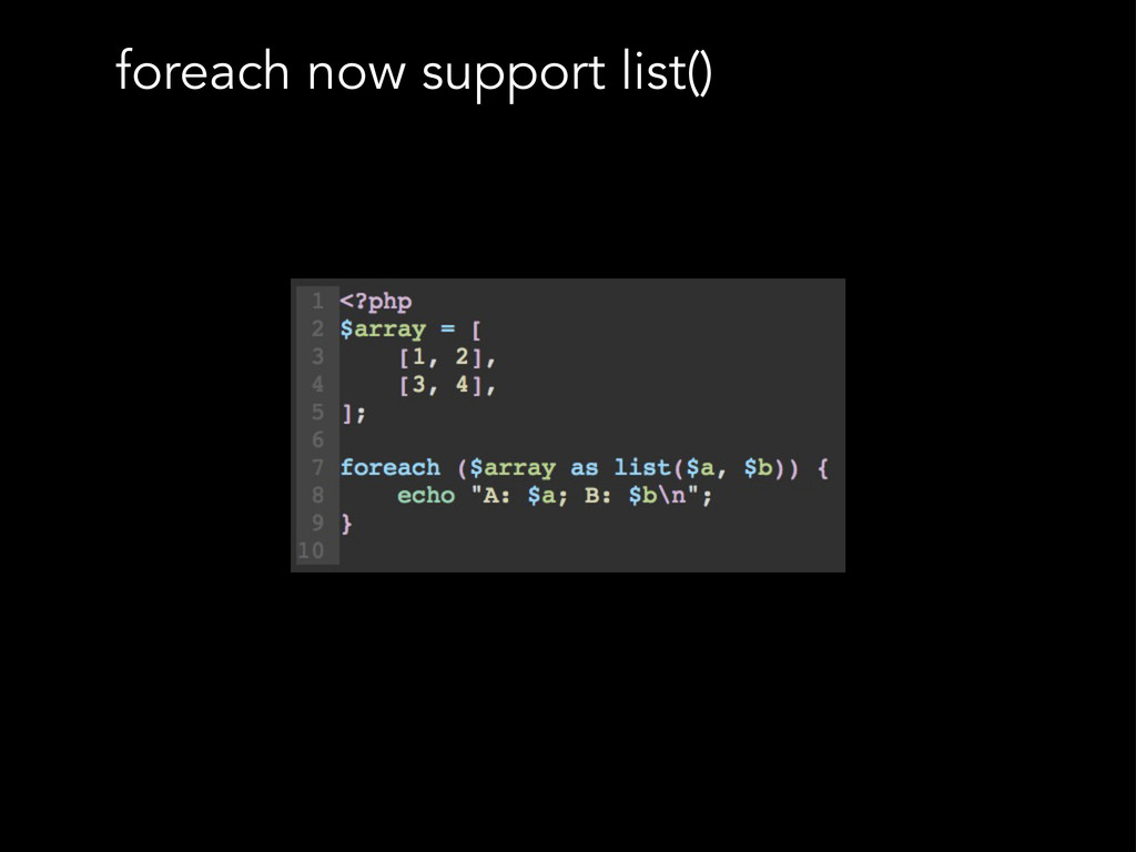 foreach now support list()